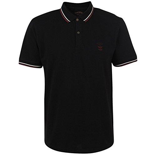Firetrap Herren Lazer Polo Shirt Kurzarm T-Shirt Top Tee Polohemd Sportshirt Schwarz XXXX Large (Top Tank Baseball-ribbed)