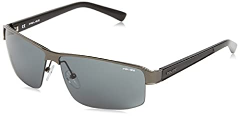 Police - Lunette de soleil S8855 FORCE Rectangulaire - Homme, Grey (Gun Metal/Black)