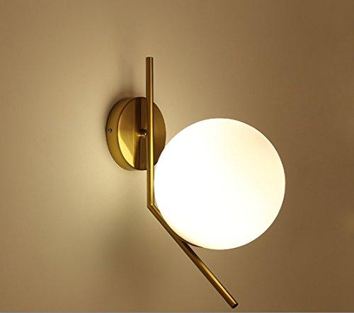 GAOXP Nordic Postmodern Glaskugel Lampe Wohnzimmer Schlafzimmer Nacht Balkon Flur Schmiedeeisen Persönlichkeit Kreative Lampen (Design : White light2) (Schraube-lampen-farbtöne)