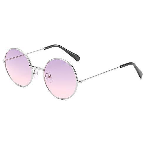 KnSam Polarisierte UV400 Schutz Ultraleicht Rahmen Runden Unisex Silber Pink Sonnenbrillen Fahrerbrille