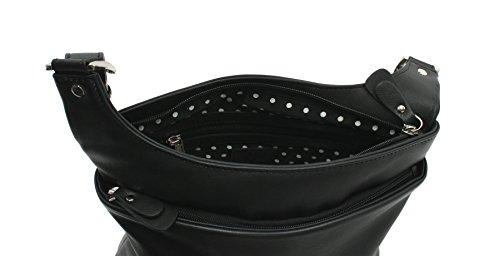 Mala en cuir TEDDY Collection souple Messenger Sac en cuir noir 785_82 noir