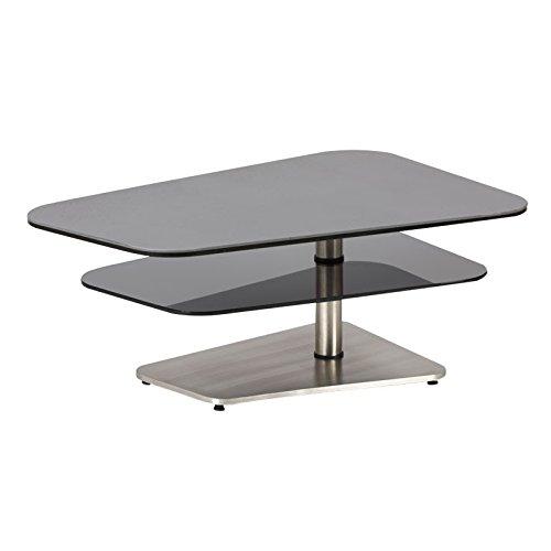 Tousmesmeubles Table Basse Verre/Métal - BROSSAM - L 100 x l 65 x H 40 - Neuf