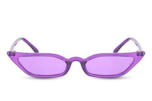 Cheapass Damen-Sonnenbrille Cat-Eye Violett Lila Schmal Breit Dünn UV-400 Designer-Brille Plastik Frauen