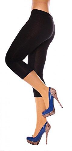 Damen Basic Sommer Jersey Capri 3/4 Leggings Leggins Unterzieh Hose Kurz Baumwolle Stretch Einfarbig Uni One Size Schwarz