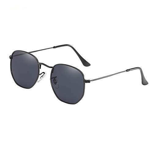 CCMOO Hexagonal Sonnenbrille Frauen Männer Marke Designe Retro Fahrspiegel Sonnenbrille Weibliche Männlich-Schwarz