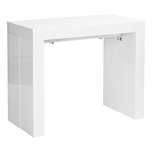 Tavolo consolle allungabile fino a 3 metri, consolle in mdf laccato, 45 x 95 x 75 cm, bianco lucido laccato