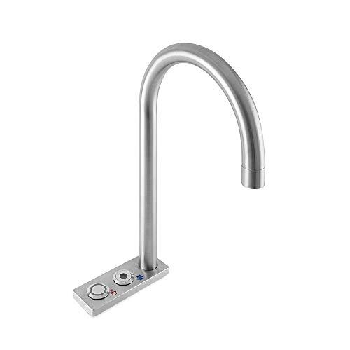 Gekühlte Arbeitsplatte (Pure H2O Quatreau Smart Wasserhahn 553, kochend, gekühlt, 20 l pro Stunde, 2 Knöpfe, Edelstahl, gebürstet)
