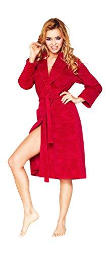Vestaglia breve da Donna di Lusso con Motivo Floreale Rosso