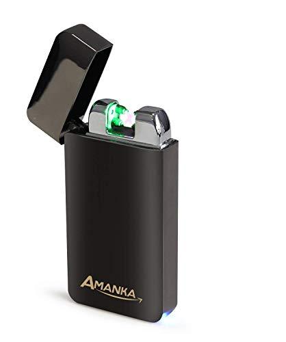 AMANKA Accendino al Plasma, Ricaricabile tramite USB, Accendino Elettrico a Doppio Arco, Antivento Senza Combustione, Resistente e Sicuro con Confezione Elegante