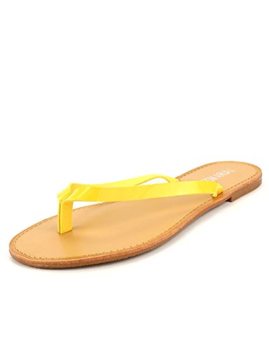 Cendriyon Tong Color Jaune Vernie Moda Chaussures Femme Jaune