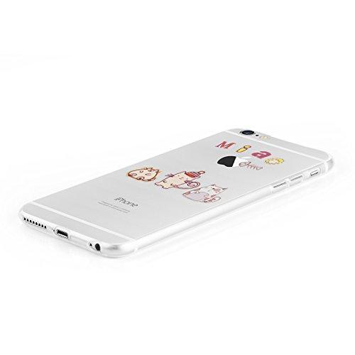 "iPhone 6 Hülle, JAMMYLIZARD Transparentes Sketch Back Cover aus Silikon mit Muster für iPhone 6 / 6s 4.7"", KRATZENDE KATZE Miau"