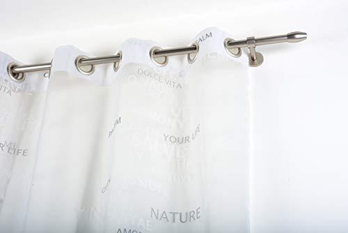 Incasa - bastone per tenda, 20 mm senza anelli, lunghezza 180 cm, acciaio satinato, acciaio inox, colore: grigio