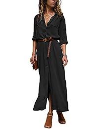 Dokotoo Robe Femme Maxi Manches Longues Chemise Robe Split avec Centure S-XL