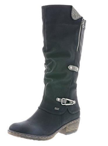 Rieker 93752 Damen Stiefel, Schaftstiefel, Overkneestiefel, seitliche Zierspange, Warmfutter, Tex schwarz (schwarz/Smoke / 00), EU 40