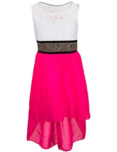 Fashionteam24 Festliches Mädchen Sommer Kleid mit Glitzergürtel Hochzeit Kommunion Freizeit M555npi Neon Pink 6/110 / 116 (Hochzeit Kleid Neon Pink)