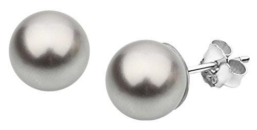 Swarovski Elements orecchini a perno con perle donna Nena Lina 8mm perle grigie, realizzato a mano, in argento Sterling 925