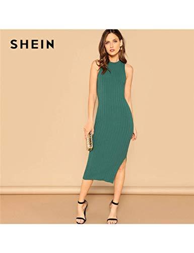 NSLLQ Grün Elegant Solide Split Side Rippenstrick Ausgestattet Tank Ärmellose Kleider Frauen Plain Mantel Sommer Bleistift Dress,Green -