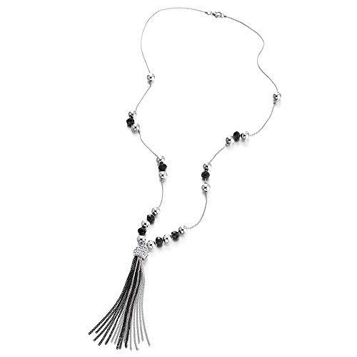 iMECTALII Silber Schwarz Lange Kette Statement Halskette, Strass Kette Quaste Baumelnde Harz Perlen Charme Anhänger -