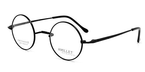 Amillet 42mm Retro Runde Titan Brillen Rahmen, für Männer und Frauen, nur 12g,Matt-schwarz (Brillengestelle Für Männer Titan)