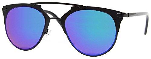 Cheapass Sonnenbrille Schwarz Blau Verspiegelt Designer Brille Metall Damen Herren Unisex