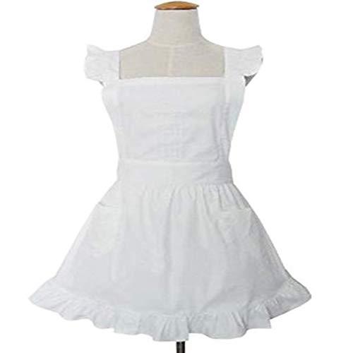 RANRANHOME Niedliche Weiße Baumwolle Retro Lady Schürzen Für Frauen Küche Kochen Putzfrau Kostüm Geschenk Mit Taschen,White (Kinder White Für Lady-kostüm)