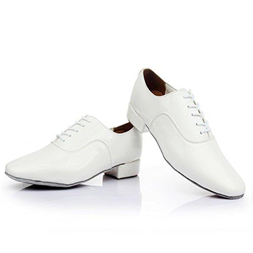 SQIAO-X- Uomini Dancing scarpe basse in pelle a testa tonda Pu cinturino nero professionale di ballo latino americano e danza moderna Scarpa danza Nero