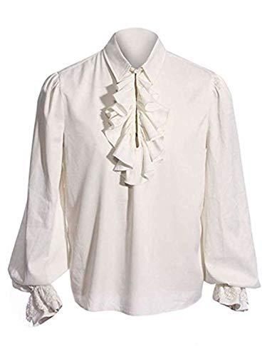 Swanbuy Herren Halloween Kostüme gekräuselten gotischen Steampunk viktorianischen Piraten Cosplay Shirts