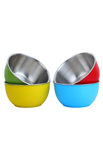 Homeish Metallo Microwave Safe Stainless Steel Plastic Coated Bowls (Multicolor)...