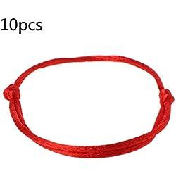 Fahou 10pcs Kabbalah Hilo Rojo Pulsera Joyeria Joyeria De Moda De Kabala Amuleto Mal De Ojo