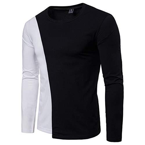 Manadlian Herren Beiläufig O Hals Schwarze Weiß Patchwork Schlank Lange Ärmel T-Shirt Pollover Bluse