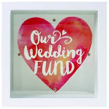 Splosh Our Wedding Fund Change Box Gift Square Glass Front To See Savings Inside