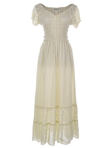 Anna-Kaci Antique Beige Kleine Größen Smok Taille Sommer-Maxi Kleid mit Flügelärmeln Boho Gypsy (Mädchen Maxi-kleid Für Kleine)