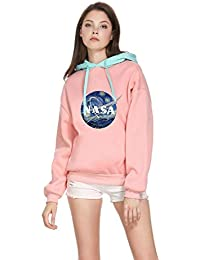 CORIRESHA Damen Color Block NASA Logo Print Drawstring Hoodie Sweatshirt 3d319adde6