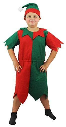 ILOVEFANCYDRESS Kinder Elfen KOSTÜM Kinder GRÜN / ROT Tunika MIT Hut WEIHNACHTSKOSTÜM FRECHE ELFE Santa's KLEINE HELFERELFEN - GRÖẞE - Freche Elfen Kostüm
