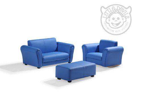 Blue Pu Leather Lazybones Kids Twin Sofa Chair Seat