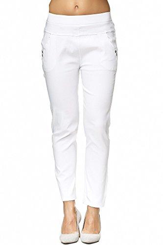 JillyMode hochwertige Damen High Waist Stretch Hose I Weiß I Weiß bis Gr.50 (A1310-Weiß-5XL)