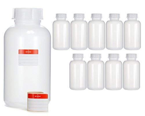 Octopus 10x 2000 ml Weithalsflaschen aus LDPE mit Schraubverschluß, Leere 2 Liter Chemiekalienflaschen, Laborflaschen mit Deckel als Aufbewahrungsbehälter für Labor, Küche oder Hobby