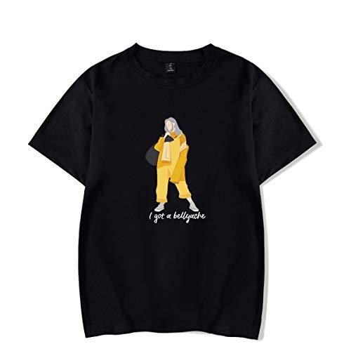 d16ed2ec4b80d SIMYJOY Unisex Billie Eilish Bellyache Camiseta no Sonrisa Hiphop Street  Fashion T-Shirt Fans de música oversiza tee para Hombres Mujeres ...
