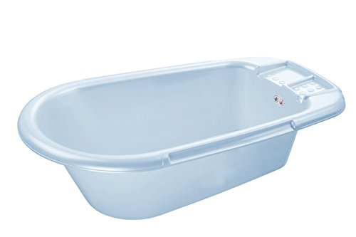 Rotho Babydesign Bath Tub, With Drain Plug, 0-12 Months, Bella Bambina, Baby Blue Pearl (Light Blue), 200200103