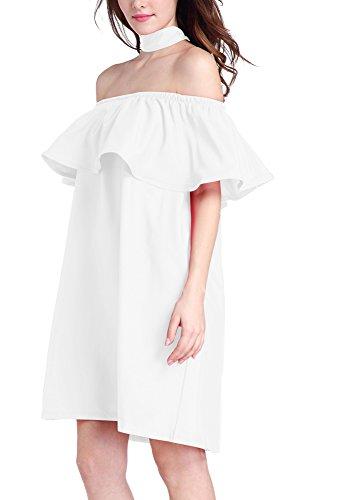 Donna Vestiti Eleganti Senza Spalline Senza Schienale Spalla Di Parola Vintage Cocktail Sciolto Estivi Corti Vestitini Abito Vestito Vestiti Da Sera Bianco