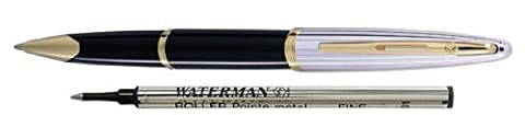 Waterman Carene Deluxe Black Lacquer/Silver With 2 Free Rollerball Refills Rollerball Pen - S0699980 by Waterman