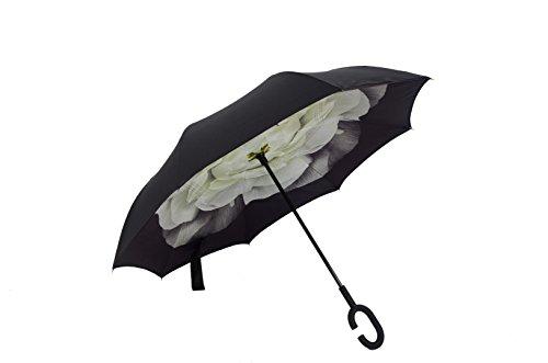 Ombrello a forma di C mani Maniglia Antivento inversione pieghevole a doppio strato invertito ombrello doppio ombrello inversione e Self Standing Inside Out parapioggia ombrello (Gardenia white)