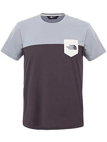 The North Face Radome Pocket T-shirt da uomo con stampa a tasca, Uomo, Radome Pocket, Grey/Mid Grey/Asphalt Grey, XXL Grey/Mid Grey/Asphalt Grey