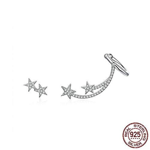 MNGGNM Stella cometa asimmetria orecchini per le donne Clear Bright Meteor Ear Stud 925 gioielli in argento sterling Femme