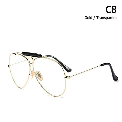 ZHOUYF Sonnenbrille Fahrerbrille Mode Shooter Stil Vintage Aviation Sonnenbrille Metall Kreis Marke Design Sonnenbrille Oculos De Sol Mit Kapuze, G