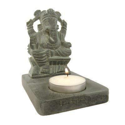 Gris Ganesha esteatita vela portavelas 11cm elefante dios hindú