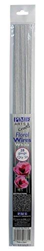 PME FW128 Blumendraht für Zuckerarbeiten, Drahtgröße 28, Legierung, Weiß, 0.1 x 0.11 x 36 cm, 1 Einheiten (24 Draht Gauge)