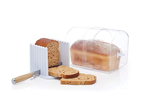 KitchenCraft Stay Fresh Expanding Bread Keeper - Bread Bin with Bread Slicer Guide, In Gift Box, Plastic - Large
