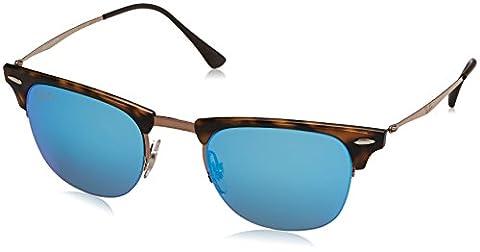 Ray Ban Unisex Sonnenbrille Clubmaster, , , , , Gr. Small (Herstellergröße: 51), Braun (Gestell: braun (tortoise, shiny) Glas: blau verspiegelt 175/55)