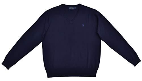 Ralph Lauren Pullover V-Neck Sweater Merino Wolle Dunkelblau Größe XL